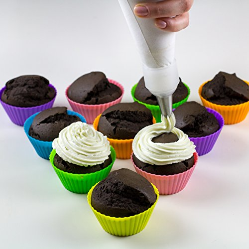 Bakeitfun Silicone Cupcake Liners Set, A Pack Of 12 Standard Reusable Non-Stick Baking Cups In 6 Colors, Piping Bag, Decorating Tips And Decoration Pen, And German Food Grade Materials