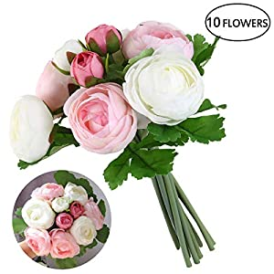 ULTNICE Bridal Wedding Bouquets Artificial Camellia Flowers Home Wedding Decoration(Pink White) 64