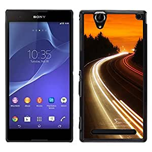 LECELL--Funda protectora / Cubierta / Piel For Sony Xperia T2 Ultra -- Carretera Luces Glow --