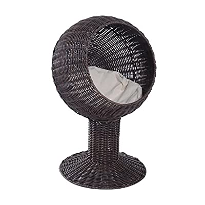 Cat Basket Pawhut 28″ Hooded Rattan Wicker Elevated Cat Bed –... [tag]