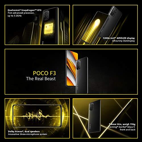 "POCO F3 5G - Smartphone 6+128GB, 6,67"" 120 Hz AMOLED DotDisplay, Snapdragon 870, cámara triple de 48MP, 4520 mAh, Azul…"