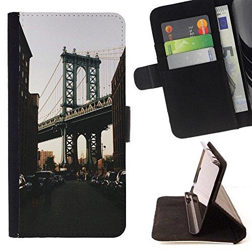 God Garden - FOR Apple Iphone 6 PLUS 5.5 - City Dark New York Bridge - Glitter Teal Purple Sparkling Watercolor Personalized Design Custom Style PU Leather Case Wallet Fli