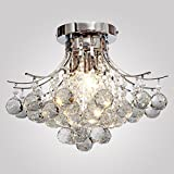 Y&L Modern Luxury Chandelier Rain Drop Lighting Crystal Ball Fixture Pendant Ceiling Lamp with 3 Lights E12/E14 Bulb Not Included