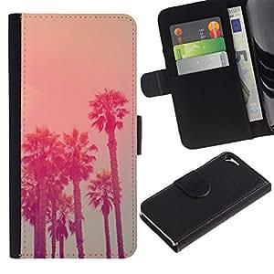Billetera de Cuero Caso del tirón Titular de la tarjeta Carcasa Funda del zurriago para Apple Iphone 5 / 5S / Business Style California Vignette La State Sea