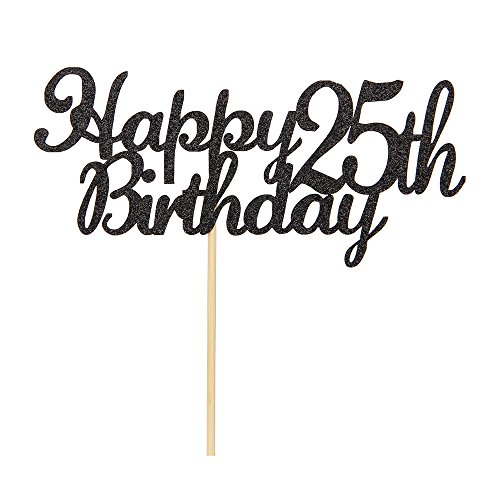 Happy 25th Birthday Cake Topper Black Glitter Cheers To 25 Years TopperHello