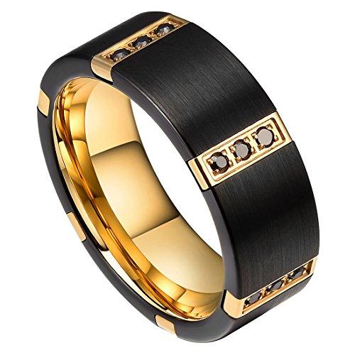 DOUX Men's 8mm Gold & Black Plated Tungsten Carbide Wedding Ring Black Cubic Zircon Inlay 10