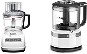 KitchenAid KFP1133WH 11-Cup Food Processor with Exact Slice System - White & KFC3516WH 3.5 Cup Food Chopper, White