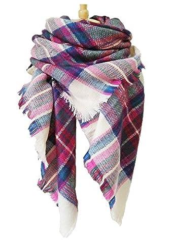 iToolai Women Large Square Tartan Warm Blanket Scarf Shawl,Fuchsia,55