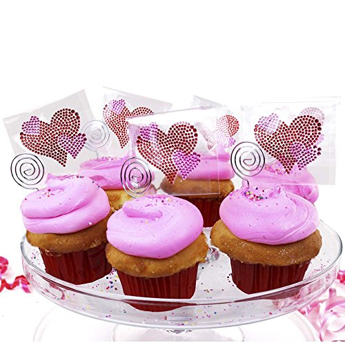 Sticker Bling Bling Pink Hearts Party Favor & Cupcake Decoration 6 Pack Gemz Crystal Rhinestone Stickers Perfect for Phone, Gear or as a Gift ()