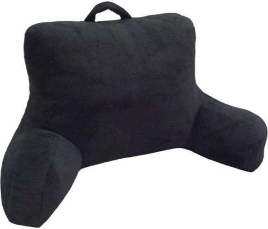 Mainstays Micro Mink Plush Bedrest Pillow Lounger Support Backrest Polyester New:Rich Black