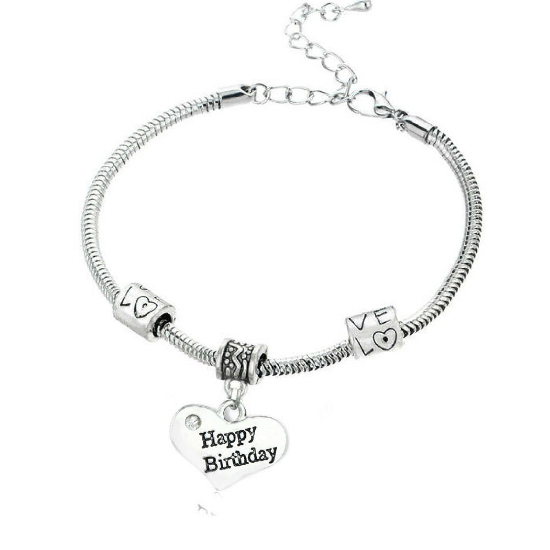 """Happy Birthday"" Charm Bracelets | Adorable Happy Birthday Heart Bracelet | Best Family Jewelry Gift"