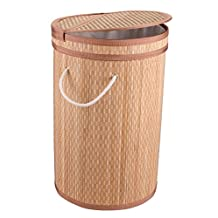 Dwellbee's Clein Collapsible Bamboo Laundry Hamper, Bag, Sorter, Basket (Natural/Light Brown)