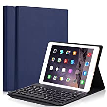 Vacio keyboard case PU Leather Smart Case Stand Folio Cover with Detachable Wireless Bluetooth Keyboard for Apple ipad pro 9.7/2017new ipad / ipad air /ipad air 2 (Deep Blue)