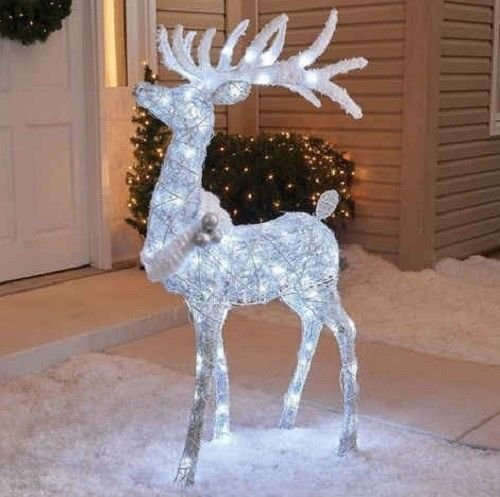 Outdoor 48'' Cool White Twinkling Buck Deer Christmas Yard Lawn Decoration Garden Sculpture by Home Improvements