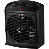 Pelonis Fan-Forced BLACK Portable Space Heater With Thermostat-NEW