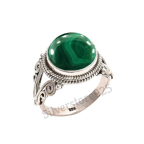 bb314f0d68d0c 925 Sterling Silver Green Malachite Ring - Malachite Stone Gemstone Ring  For Girl Women Gift Ring Size 4 5 6 7 8 9 10 11 12 13 14 15 16
