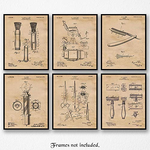 Vintage Barber Patent Art Poster Prints, Set of 6 (8×10) Unframed Photos, Great Wall Art Decor Gifts Under 20 for Home, Office, Garage, Man Cave, Shop, Salon, Student, Teacher, Stylist, Hair Fan