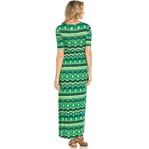 and Rayon Dress Long Neck Maxi Go Elastic Women's with No Scoop Simlu Pockets Waist Green Pockets Empire RfwE4AqWEz