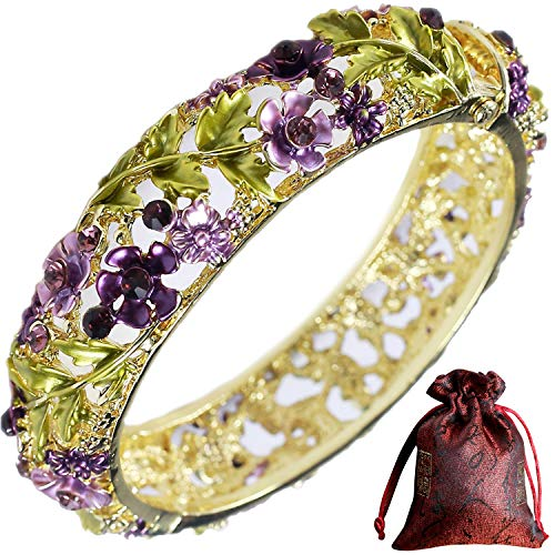 Pavaruni Traditional Gorgeous Chinese Cloisonne Bracelets, Rose Flower Retro Vintage Cultural Designed Enameled Jewelry, Cloisonné (Retro Purple(Bracelet))