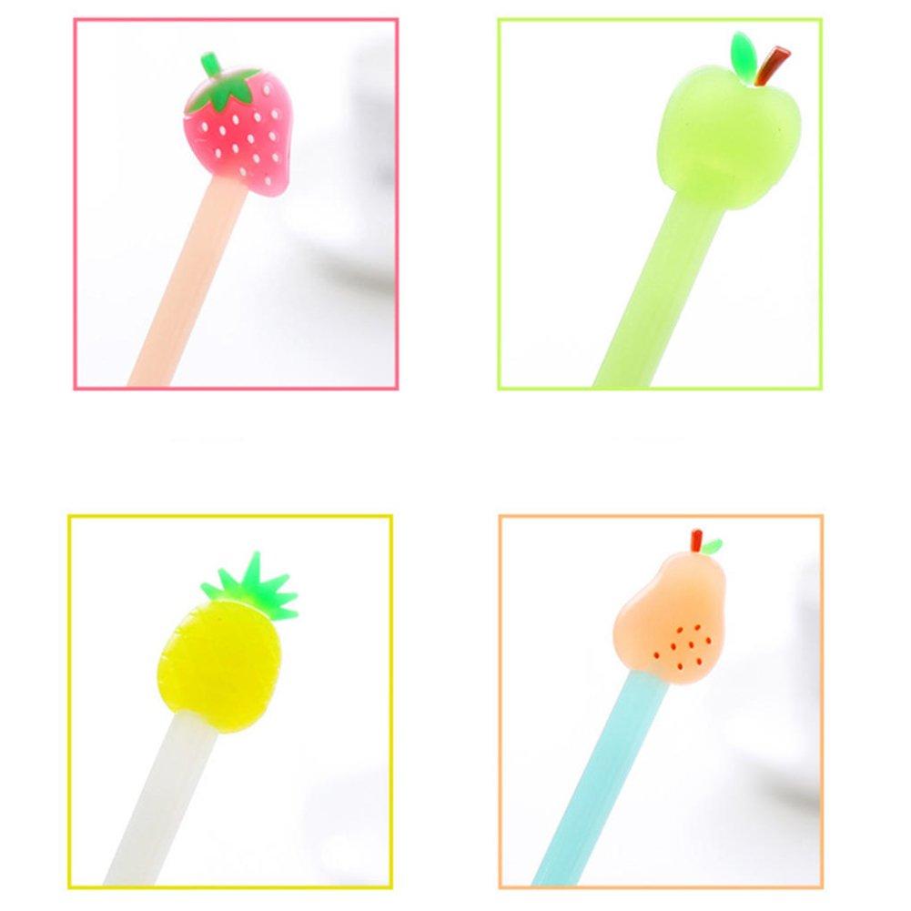 plastica little finger 0.38/mm Luminoso Pera Mela Fragola Ananas Frutta con Inchiostro Gel Studenti Gift Liscio e Scritta Bene Penna Apple