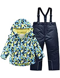 Hiheart Boys Snowsuit Winter Ski Jacket and Pants Set 6-7 Years Blue