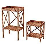 Napco Wooden Plant Stand End Tables (Set of 2)