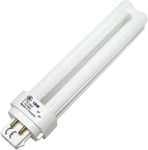 GE 97599 (4-Pack) F18DBX/830/ECO4P 18-Watt Compact Fluorescent Light Bulb, 3000K, 1200 Lumens, T4 shape, 4-Pin G24q-2 Base