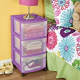 Sterilite Durable 3 Drawer Medium Cart Orchid
