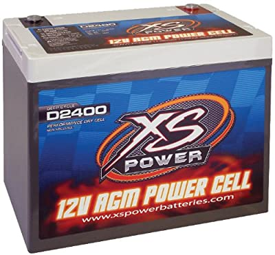 XS Power D2400 AGM Series 3500 Max Amp 670 Cranking Amp 12V Battery with Reinforced Casing