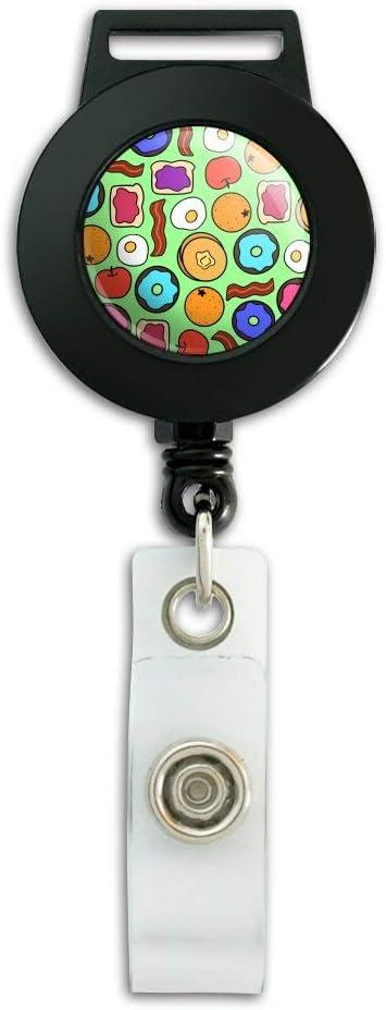 Fun Breakfast Foods Pattern Lanyard Retractable Reel Badge ID Card Holder