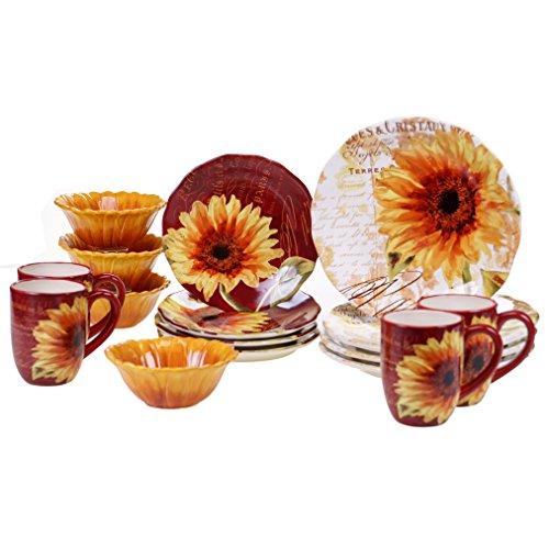 Certified International 89095 Paris Sunflower Ceramic Dinnerwae, -