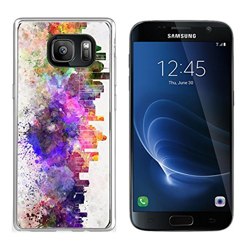 Liili Samsung Galaxy S7 Clear case Soft TPU Rubber Silicone Bumper Snap Cases IMAGE ID: 28715134 Houston skyline in watercolor - Houston Duty Free