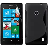 Zonewire® BLACK WAVE GEL CASE COVER FOR NOKIA LUMIA 520 + SCREEN PROTECTOR