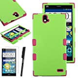ZTE Grand X Max+ Plus Case, Luxca (Tm) Grand X Max+ Plus (ZTE Z987) Hybrid Heavy Duty Rugged Impact Advanced Armor Symbiosis Soft Silicone Cover Tuff Hard Robust Snap On Dynamic Case + Clear Lcd Screen Protector + Luxca (Tm) Stylus Pen (Pearl Green / Pink Tuff)