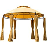 Outsunny Round Outdoor Patio Canopy Party Gazebo with Curtains, 11-Feet, Orange
