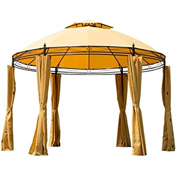 Outsunny Round Outdoor Patio Canopy Party Gazebo With Curtains, 11 Feet,  Orange