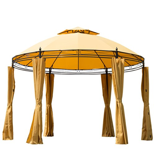 Outsunny Round Outdoor Patio Canopy Party Gazebo with Curtains, 11-Feet, Orange by Outsunny