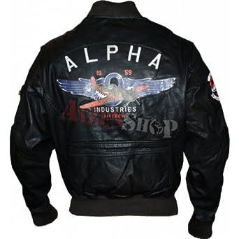 Alpha Lederjacke mit Patches
