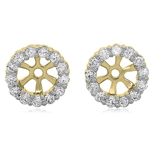 Dazzlingrock Collection 0.50 Carat (ctw) 14K Round Diamond Cluster Style Removable Jackets Stud Earrings 1/2 CT, Yellow Gold 14k Gold Diamond Earring Jackets