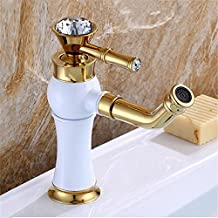 GAOF Bathroom faucets crystal handles faucet for bathroom basin sink Golden +White single handle water tap AL-325W Faucet