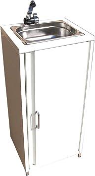 TMM Lavabo portátil con accesorios, color blanco