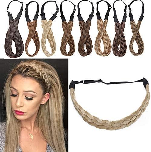 [Ash Blonde] Hair Braided Headband Medium Size 5 Strands Synthetic Hair Plaited Braids Headband For Women Beauty Accessory