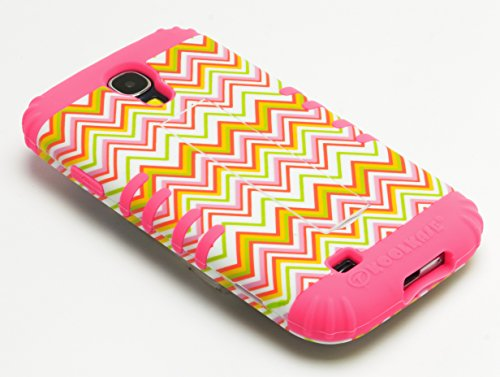 Galaxy S4 Case, Bastex Heavy Duty Hybrid Case Soft Hot Pink Silicone Cover with Nya Chevron Design Hard Shell for Samsung Galaxy S4 I9500