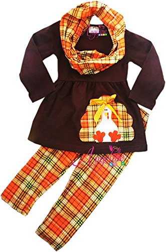 Angeline Boutique Clothing Girls Fall Colors Thanksgiving Turkey Plaid Scarf Set 7T/2XL -