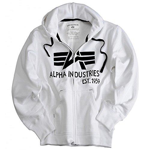 Alpha Industries -  Felpa con cappuccio  - Uomo White Large