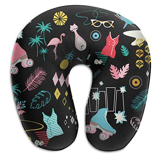 MODREACH U Shaped Memory Foam Air Pillow Neck Head Cushion Support Rest Outdoors Car Office Home Travel Pillow (Retro Roller Derby with Flamingo Cat Black) - Derby Pro One Insert