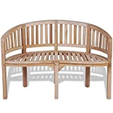 Cheap vidaXL Patio Garden Teak Curved Banana Wooden Bench Chair Seat Outdoor 2-Seater