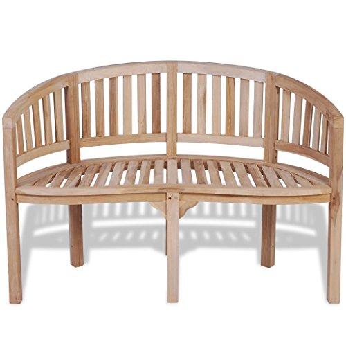 vidaXL Patio Garden Teak Curved Banana Wooden Bench Chair Seat Outdoor - Seater 2 Teak
