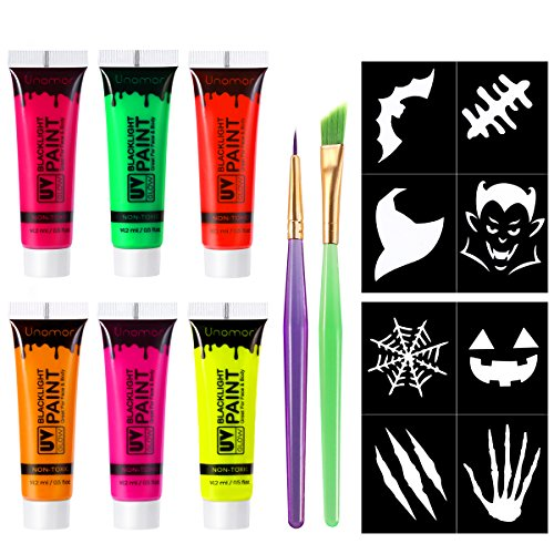 Unomor Halloween Makeup UV Blacklight Face Painting, Glow Neon Fluorescent Body Paint for Halloween Party Custume (6Pack x 0.62oz)