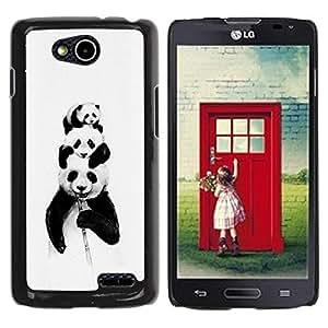 Caucho caso de Shell duro de la cubierta de accesorios de protección BY RAYDREAMMM - LG OPTIMUS L90 / D415 - Panda Bears Bamboo Black White Baby Cute